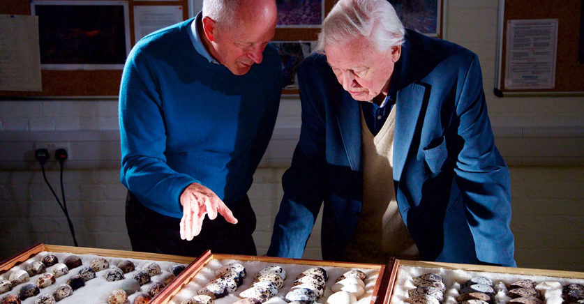 Professor Tim Birkhead with Sir David Attenborough.