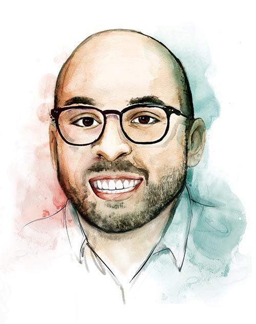 Illustrated portrait of Sam Moir