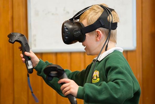 Child in VR headset